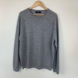 J. Crew gray crew neck 100% merino wool sweater.